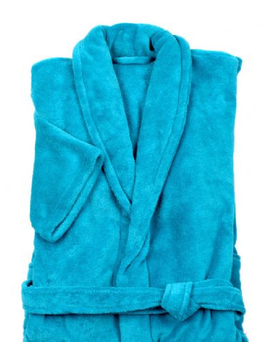 AQUA TEAL COLOUR LUXURY FLEECE MICROFIBRE BATH ROBE